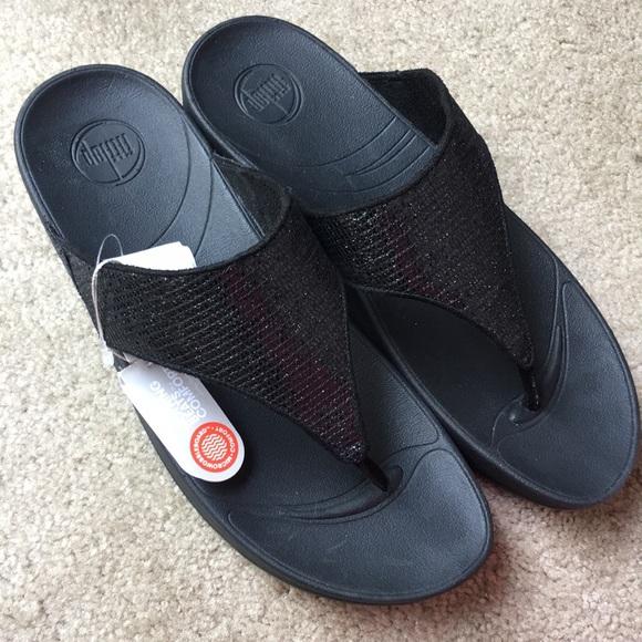 cc100e5000d54e NWT FitFlop Fit Flops Black Sparkly Sandals Sz 10
